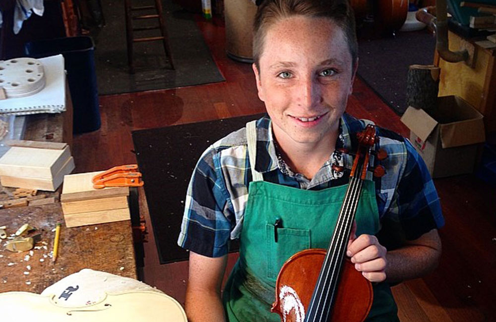14-year-old Nathan Benning, 4th Generation Violinmaker at Benning Violins, Completes his First Instrument