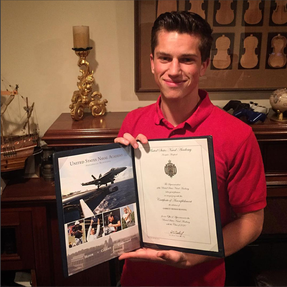 Great Pride as Garrett Benning is Accepted Into the United States Naval Academy